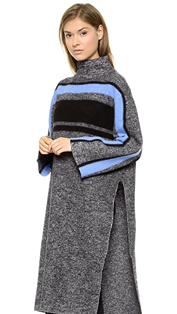 Tibi Long Striped Cape Pullover