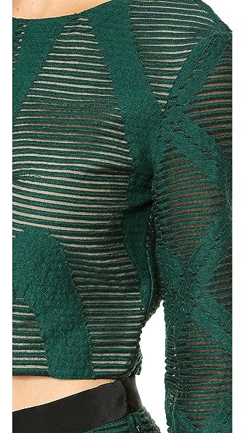 Tibi 3/4 Sleeve Crop Top