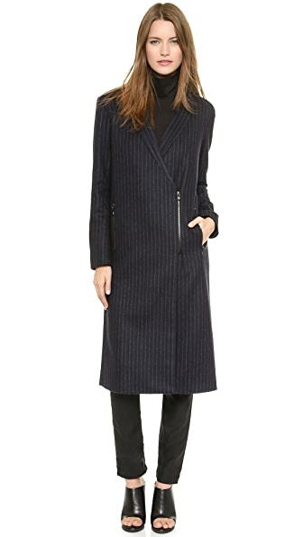 Tibi Maxi Chalk Stripe Coat