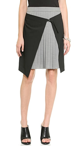 Tibi Wrap Over Pleated Skirt
