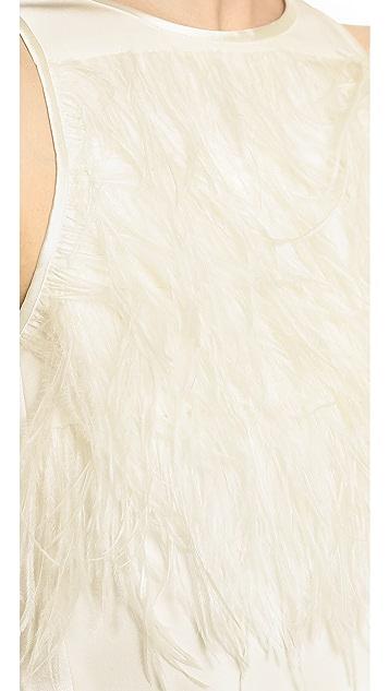 Tibi Feather Tuxedo Crop Top