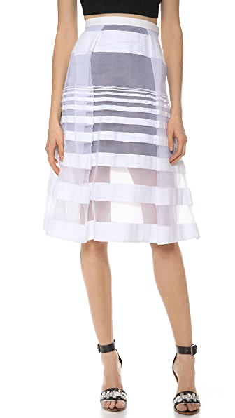 Tibi Striped Jacquard Gauze Skirt