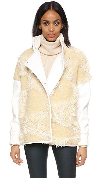 Tibi Faux Fur Patchwork Bomber Jacket