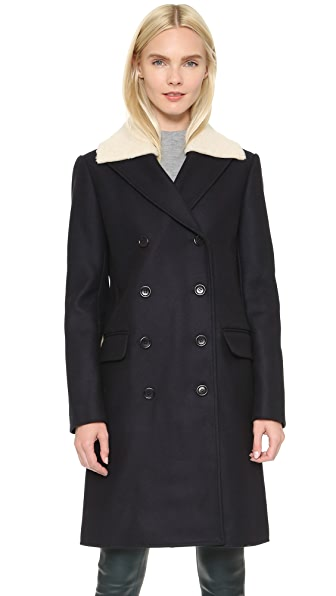 Tibi Car Coat with Shearling