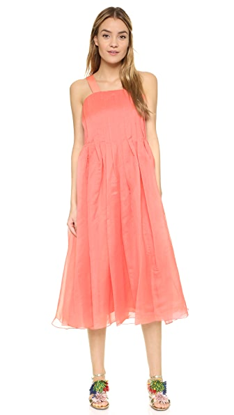Tibi Isa Pleated Dress - Watermelon