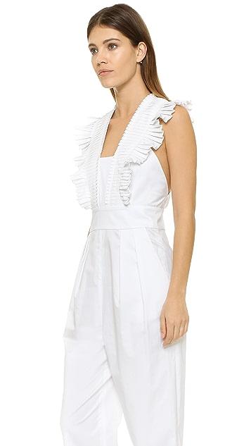 Tibi Pleated Ruffle Culotte Jumpsuit