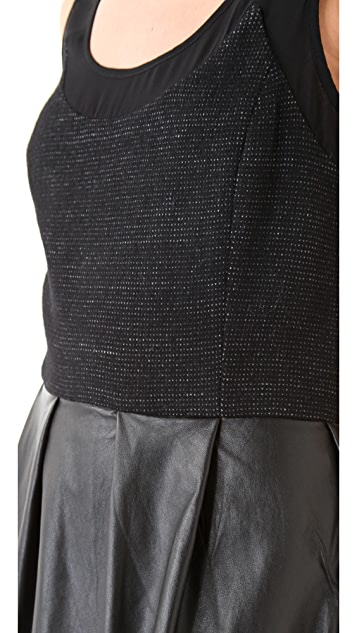 Timo Weiland Cross Back Dress with Leather Skirt
