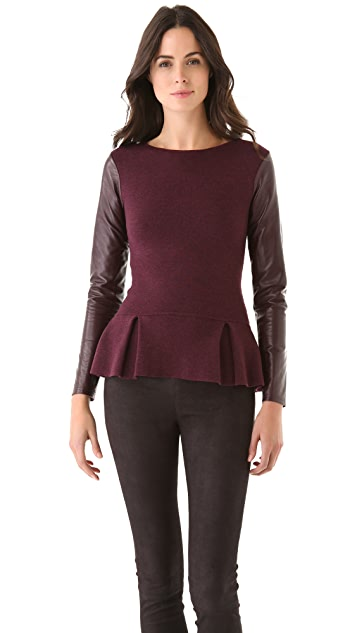 Timo Weiland Dancer's Peplum Sweater with Leather Sleeves