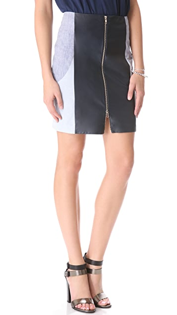 Timo Weiland Leather Paneled Skirt