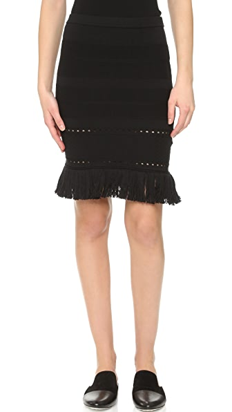 Timo Weiland Fringed Knit Skirt - Black