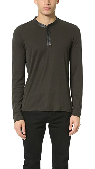 The Kooples Long Sleeve Henley - Kaki