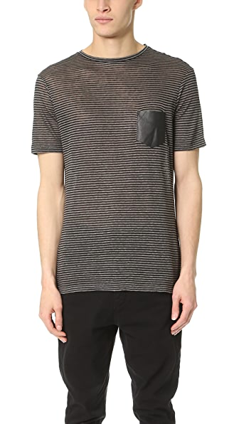The Kooples Striped Linen Tee