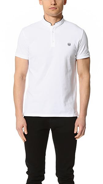 The Kooples Polo Shirt with Embroidered Stand Up Collar