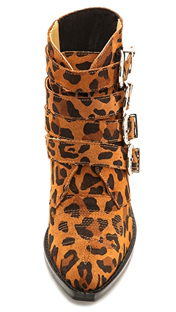 Toga Pulla Buckled Leopard Ankle Boots