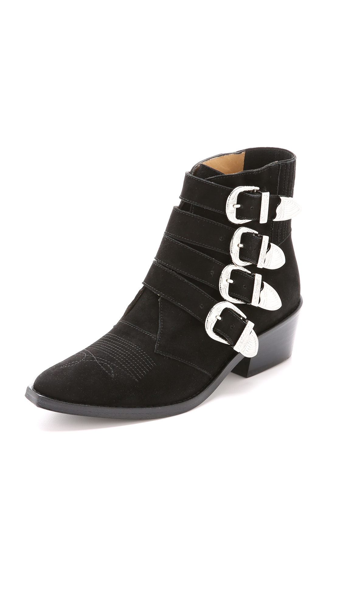 Toga Pulla Buckled Suede Booties - Black