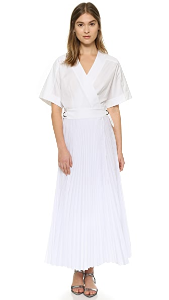 Tome Belted Wrap Dress With Pleating - White