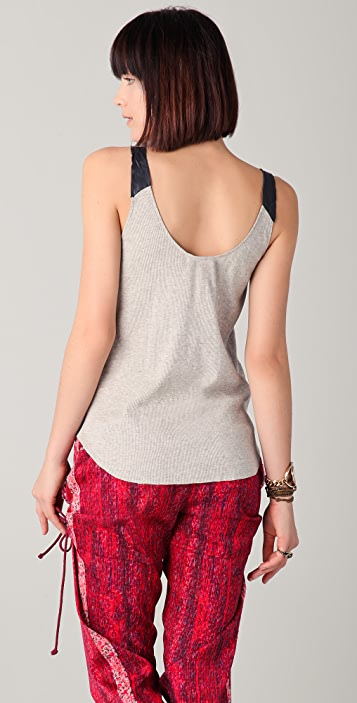 Burning Torch Distressed Leather Tank