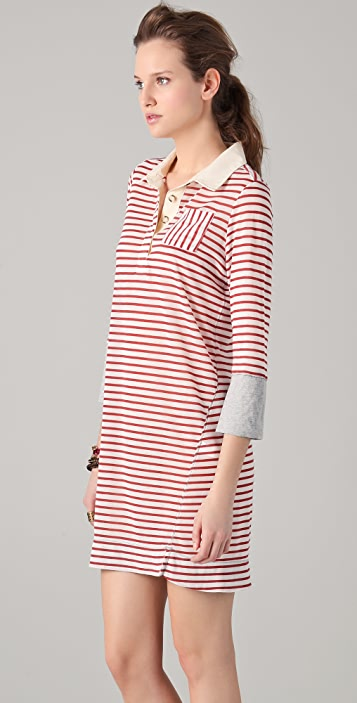 Burning Torch Work Striped Dress