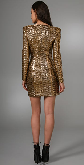 Torn by Ronny Kobo Bella Pleated Metallic Dress