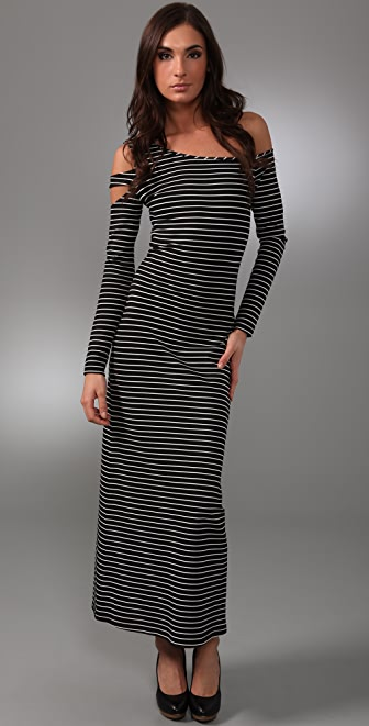 Torn by Ronny Kobo Naomi Striped Long Dress