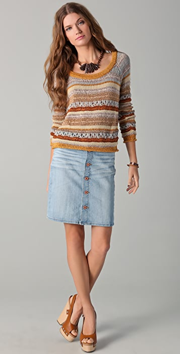 Torn by Ronny Kobo Haydon Long Sleeve Open Knit Sweater