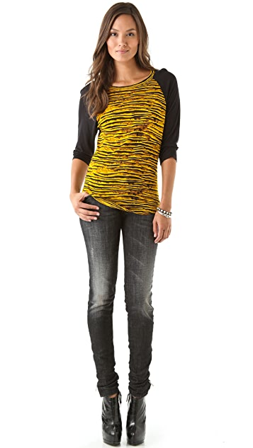 Torn by Ronny Kobo Britt Raglan Textured Stripes Tee