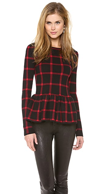 Torn by Ronny Kobo Natalie Plaid Peplum Top