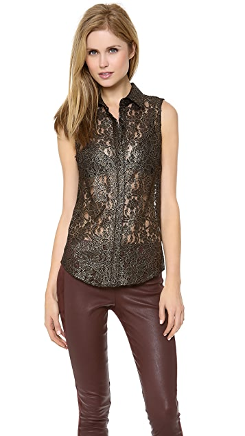 Torn by Ronny Kobo Ronit Lace Shirt