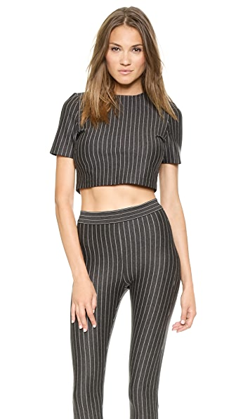 Torn by Ronny Kobo Dugan Pinstripe Crop Top