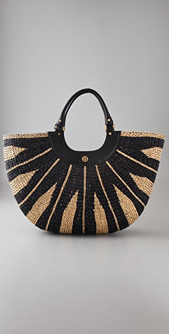 Tory Burch Crescent Straw Tote