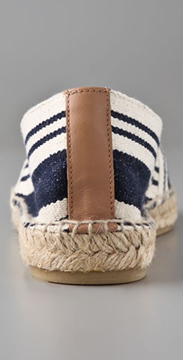 Tory Burch A Line Stripe Espadrilles with Logo
