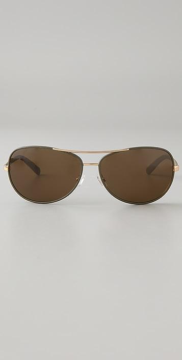Tory Burch Leather Aviator Sunglasses