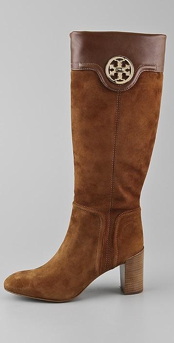 Tory Burch Selma Suede Mid Heel Boots