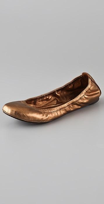 Tory Burch Eddie Metallic Ballet Flats