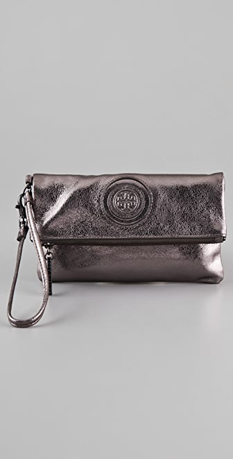 Tory Burch Vintage Metallic Fold Over Wristlet
