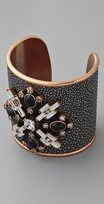 Tory Burch Multi Jeweled Leather Cuff