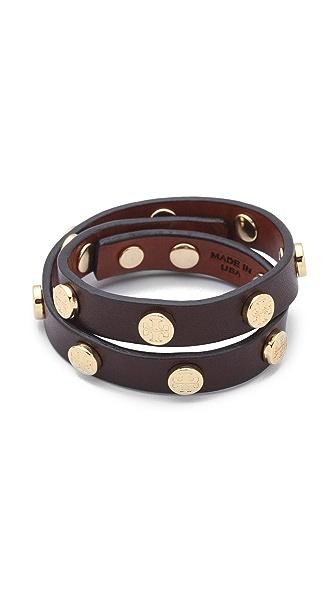 Tory Burch Double Wrap Logo Leather Bracelet