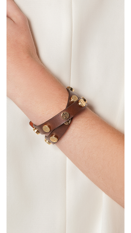 a1dabd7a3bc8af Tory Burch Double Wrap Logo Leather Bracelet