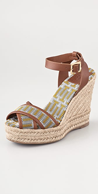 Tory Burch Florian Crisscross Wedge Espadrilles