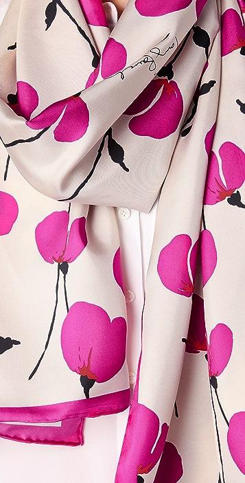 Tory Burch Poppies Silk Scarf