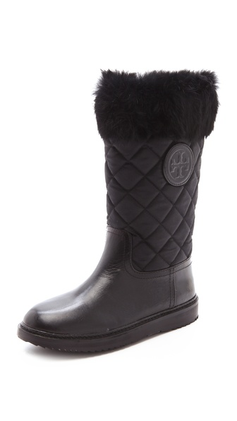 Tory Burch Josie Quilted Booties with Fur Trim