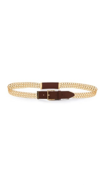 Tory Burch Leather Plaque Chain Belt