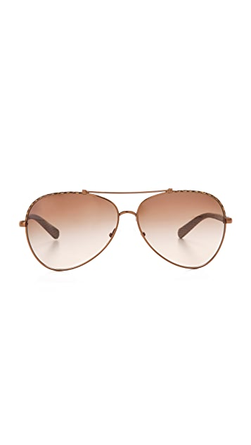 Tory Burch Leather Aviator Sunglasses