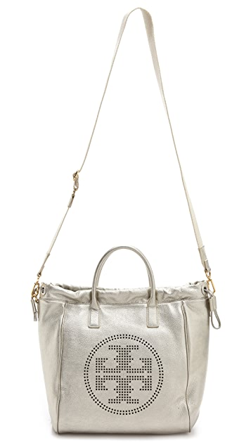 Tory Burch Metallic Perforated Logo Tote