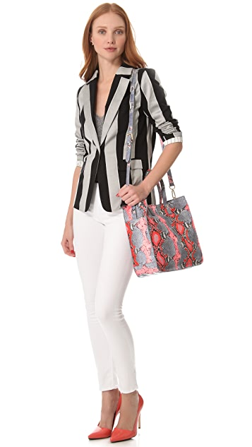 Tory Burch Neon Snake Violet Small Tote