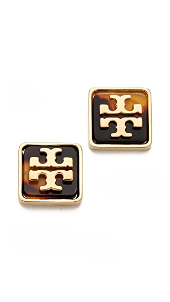 Tory Burch Resin Square Logo Studs