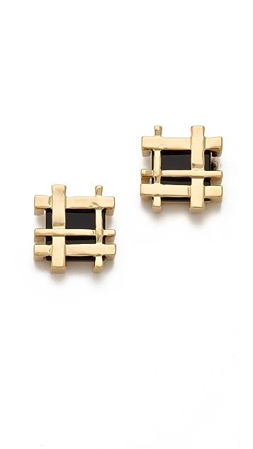 Tory Burch Mini Gingham Earrings