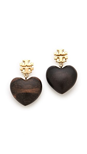 Tory Burch Wooden Heart Earrings
