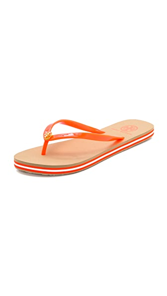 Tory Burch Neon Striped Flip Flops