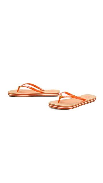 Tory Burch Neon Striped Flip Flops